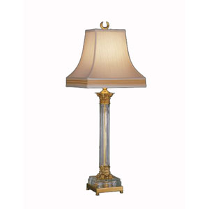 Corinthian Column Lead Crystal qnd Polished Brass Table Lamp w/ White Silkura Sewn Shade