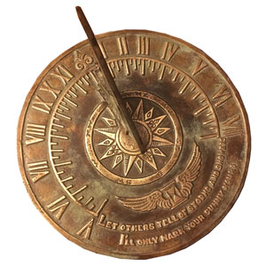 Brass Colonial Sundial with Patina Finish