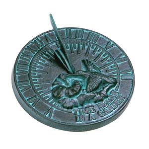 Cast Iron Hummingbird Sundial Cast Iron with Verdigris