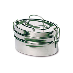 Stainless Steel Two-Tier Mini Oval Tiffin