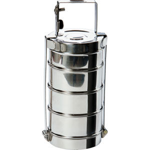 Stainless Steel Four-Tier Round Tiffin