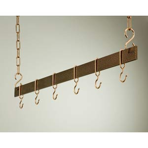 36-Inch Hammered Copper and Copper Hanging Bar Rack