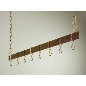 48-Inch Hammered Copper and Copper Hanging Bar Rack