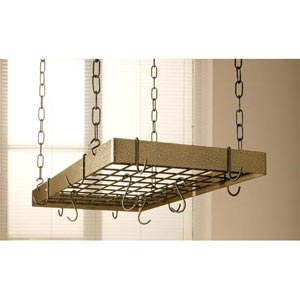Hammered Bronze Rectangular Pot Rack with Black Accents