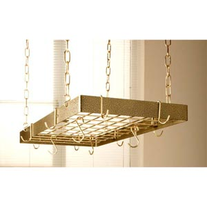 Hammered Bronze Rectangular Pot Rack with Brass Accents