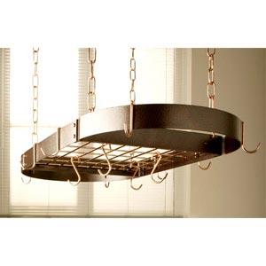 Hammered Copper Oval Pot Rack with Polished Copper Accents