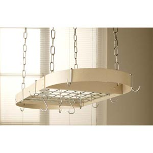 Black Oval Pot Rack with  Brass Accessories