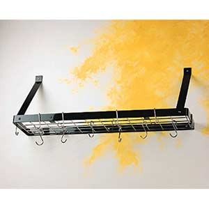 Black Bookshelf Pot Rack with Chrome Accents
