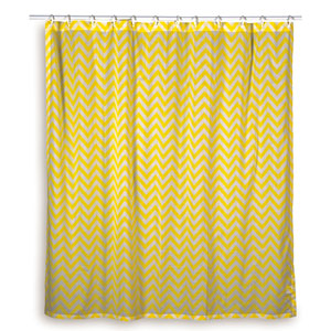 Chevron Yellow Shower Curtain