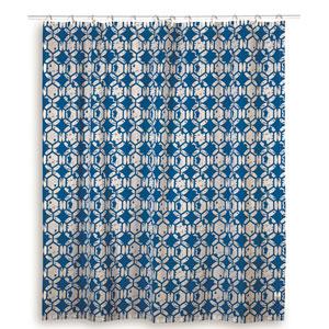 Geometric Navy Shower Curtain
