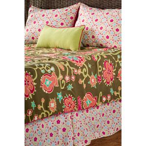 Laura Fair Suzie Q Brown Three-Piece Twin Comforter Set