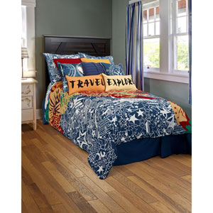 Travel and Explore Blue Two-Piece Twin Comforter Set