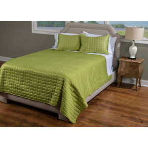 Satinology Green Two-Piece Twin Quilt Set