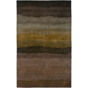 Colours Brown and Gold Rectangular: 5 Ft. x 8 Ft. Rug