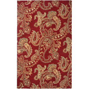 Ashlyn Red and Tan Rectangular: 5 Ft. x 8 Ft. Rug