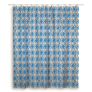 Geometric Sky Blue Shower Curtain