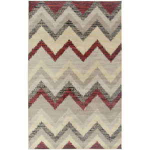 Bayside Beige and Burgundy Rectangular: 5 Ft. 3 In. x 7 Ft. 7 In. Rug