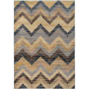 Bayside Gray and Blue Rectangular: 5 Ft. 3 In. x 7 Ft. 7 In. Rug