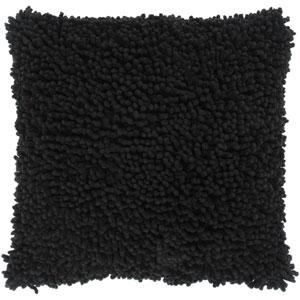 Cotton Shag Black 18-Inch Throw Pillow
