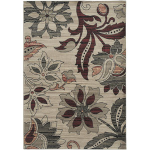 Bayside Ivory and Burgundy Rectangular: 5 Ft. 3 In. x 7 Ft. 7 In. Rug