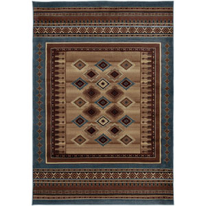Bellevue Blue and Gray Rectangular: 5 Ft. 3 In. x 7 Ft. 7 In. Rug