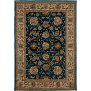 Bellevue Blue and Tan Rectangular: 5 Ft. 3 In. x 7 Ft. 7 In. Rug