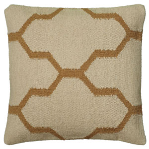 Wool Dhurrie Beige 18-Inch Throw Pillow