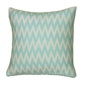 Chevron Cable Knit Aqua 20-Inch Throw Pillow