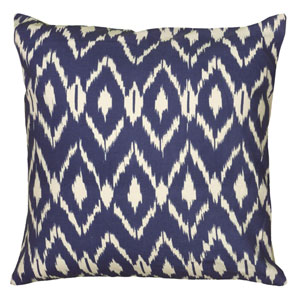 Ikat Navy Blue  18-Inch Throw Pillow