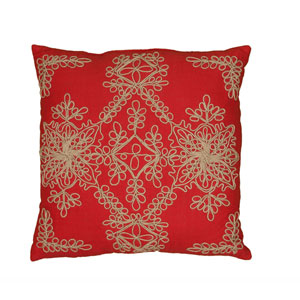 Jute Cord Stitch Red 18-Inch Throw Pillow