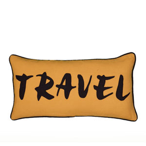 Travel and Explore Beige 11 x 21-Inch Throw Pillow