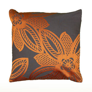 Embroidered Floral Sheen Grey and Orange 18-Inch Throw Pillow