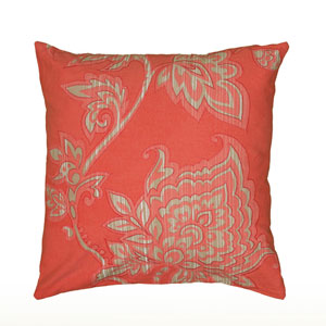 Embroidery Vine and Bud Coral 18-Inch Throw Pillow