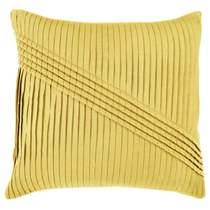 Solid Textured Sash Yellow 22-Inch Throw Pillow