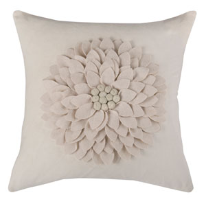Budding Flower Cream 18-Inch Throw Pillow