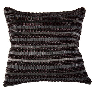 Beaded Classic Charcoal 20-Inch Throw Pillow
