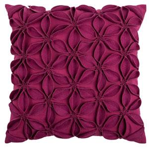 Felt Flowers Pink 18-Inch Throw Pillow