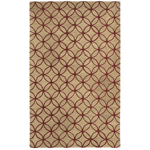Opus Beige and Red Rectangular: 5 Ft. x 8 Ft. Rug