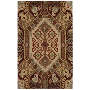 Southwest Beige and Red Rectangular: 5 Ft. x 8 Ft. Rug