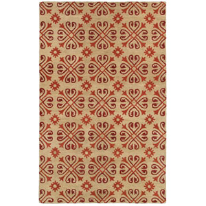 Opus Beige, Red and Brown Rectangular: 5 Ft. x 8 Ft. Rug
