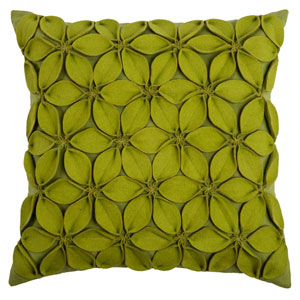 Felt Flowers Lime Green 18-Inch Throw Pillow