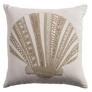 One of a Kind Light Beige 18-Inch Throw Pillow
