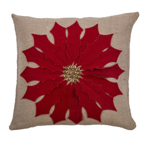 Beige 18-Inch Holiday Pillow