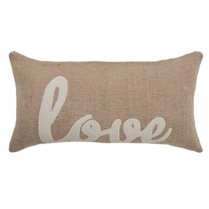 Beige 11 x 21-Inch Holiday Pillow