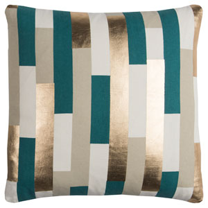 Rachel Kate Stripe Teal and Gold 20 In. Pillow Cover