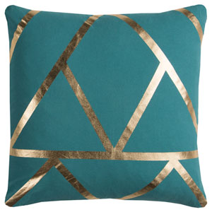 Rachel Kate Geometric Teal and Gold 20 In. Pillow Cover