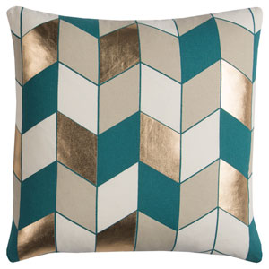 Rachel Kate Geometric Gray and Teal 20 In. Pillow Cover