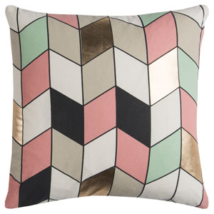 Rachel Kate Geometric Gray and Pink 20 In. Pillow Cover