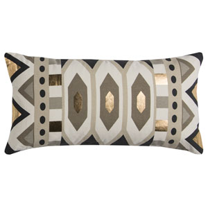 Rachel Kate Geometric Gray and Gold 11 x 20 In. Pillow Cover