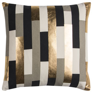 Rachel Kate Geometric Gray and Gold 20 In. Pillow Cover